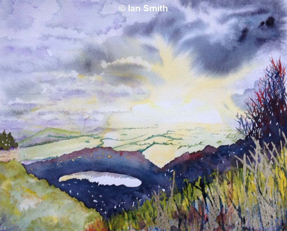 Sutton Bank watercolour stormy